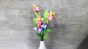 origami tulip flowers diy art n craft mommyswallmommyswall