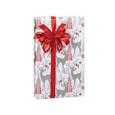 silver christmas wrapping paper and silver reindeer decoraive deer christmas gift