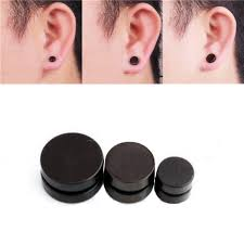 black stud earrings 2pcs men black magnetic rounded ear clip studs earrings non