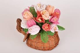 manchette cache pot madeheart u003e cache pot en paille avec fleurs de perles de rocaille