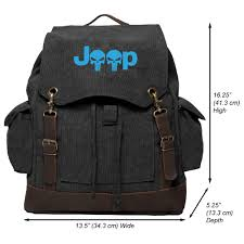 vintage jeep logo jeep wrangler punisher vintage canvas rucksack backpack with