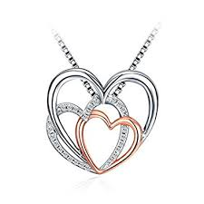 sterling silver heart necklace images Christmas silver heart necklace for women 925 sterling silver 5a jpg