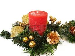 red christmas candle and ornaments isolated in white stock photo