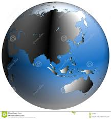 The World Map With Continents And Oceans by World Globe Asia With Blue Shaded Oceans Stock Images Image 214434