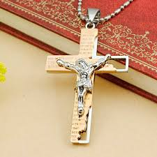 crucifix pendant necklace images Dolaime classical catholic church stainless steel jesus cross jpg
