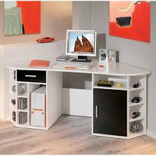 Corner Computer Desk Fabri Wooden Corner Computer Desk In White With Black Door