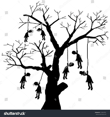 scary vector halloween scene hanging body stock illustration