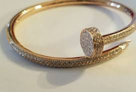cartier juste un clou nail bracelet in 18 pink gold with diamonds