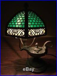 ebay stained glass ls bradley hubbard antique vintage arts crafts slag glass leaded genie