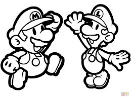 paper mario luigi coloring free printable coloring pages