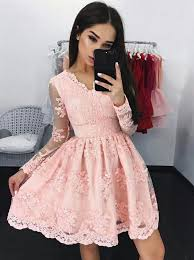 pink dress buy a line v neck sleeves pink lace homecoming dress