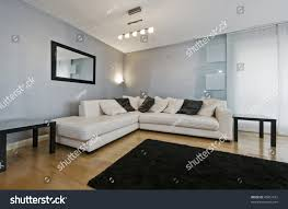 Living Room With Grey Corner Sofa Detail White Leather Corner Sofa Living Stock Photo 46051612