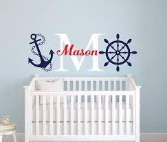 Sailboat Decor For Nursery Nautical Name Wall Decal Sailor Room Decor Custom Name