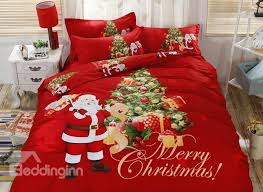 santa claus delivering gifts red cotton 4 piece merry christmas