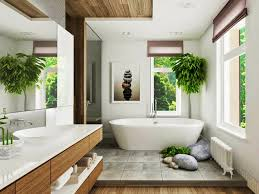 simple outdoor nature bathroom design with garden in the near