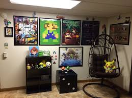 video game themed basement spare bedroom gaming