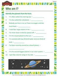 the order of the planets printable science worksheet for 3rd