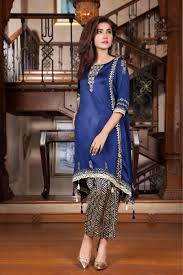navy blue hand work and block printing casual dress exclusive