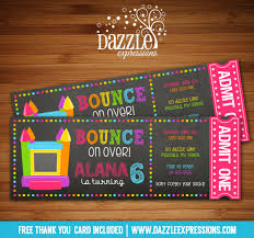 printable chalkboard bounce house ticket birthday invitation