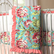 coral and teal floral crib bedding baby bedding carousel