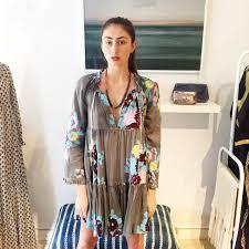 yvonne s mini hippy dress elephant grey with big flower garmentory