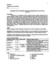 biology lab report template biology hl ia transpiration lab report international