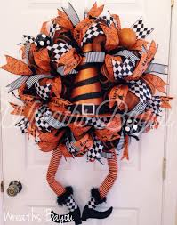 halloween wreath witch wreath with legs deco mesh wreath