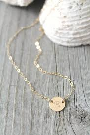 14k Gold Initial Disc Necklace 14k Gold Filled Initial Disc Necklace Personalized Monogram