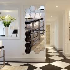 home decor wall pictures 7 piece hexagon acrylic mirror wall stickers diy art wall decor