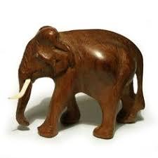 wooden elephant ornament vintage figurine black wood carved white
