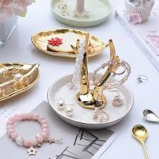 golden dish ring holder images Vintage rings bracelets earrings tray holder texture style jpg