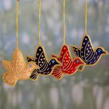 beaded ornaments royal peacock set of 3 shop from