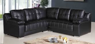furniture black leather tufted long couches with metal legs for