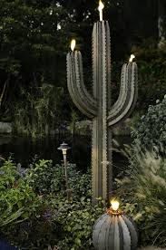 desert steel solar lights amazon com desert steel saguaro cactus tiki torch steel art