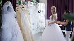wedding dress store wedding dress fitting in bridal store stock footage 13939037