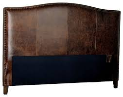 for now designs antique brown leather headboard with distressed