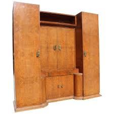 massive french art deco designer burl amboyna armoire with vanity