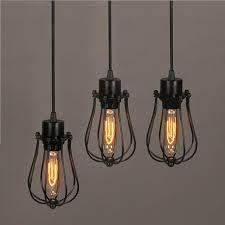 wire light bulb cage frled pendant light loft bar nordic classic black bulb wire l