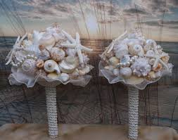 Seashell Bouquet 6 Piece Package Ivory And Coral Seashell Bouquet Ocean Bouquet