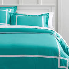 Duvet Cover Teal Ribbon Trim Duvet Cover Sham Pbteen