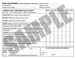 daily inspection checklist for ride on mowers