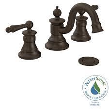 moen waterhill 8 in widespread 2 handle high arc bathroom faucet