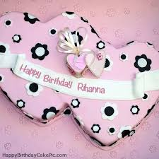 double hearts happy birthday cake rihanna