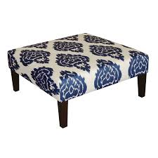 blue and white ottoman shop skyline furniture fullerton collection blue ottoman at lowes com