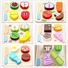 accessoire cuisine jouet en bois dessert fruits légumes aliments de coupe de cuisine jouet