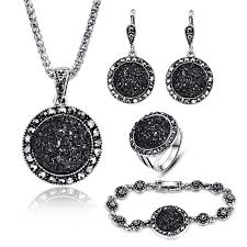 stone pendant necklace wholesale images Hot sale wholesale vintage black jewelry set fashion women jewelry jpg