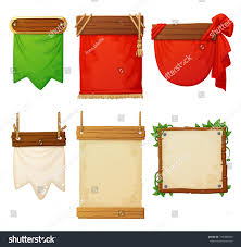 Decorative Sports Flags Set Wooden Banners Decorative Cloth Flags Stock Vector 749486680