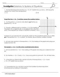 solving systems by graphing investigation activity by the
