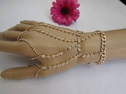 hand chains bracelet images Women bracelet five fingers slave gold metal hand chain three jpg