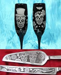 day of the dead wedding cake sugar skull wedding cake server set and chagne glasses day of